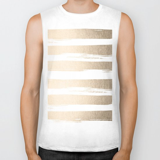 White Gold Sands Painted Thick Stripes Biker Tank