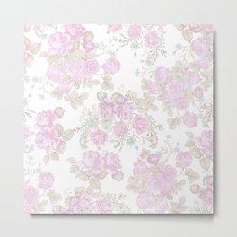 Vintage chic pastel pink green romantic roses floral Metal Print