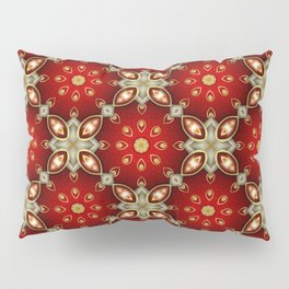 Ruby Red and Gold Pattern Pillow Sham
