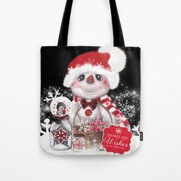 Snowflake Wishes Snowman Tote Bag