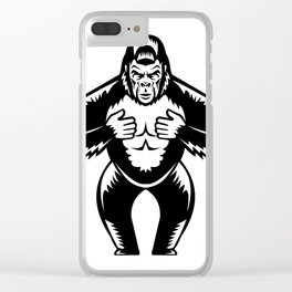 Silverback Gorilla Beating Chest Woodcut Clear iPhone Case
