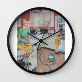 Flowers In The Kitchen Wall Clock