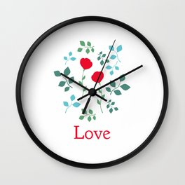Love typography, two roses. Wall Clock