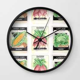 Vintage Vegetable Seed Packs Wall Clock