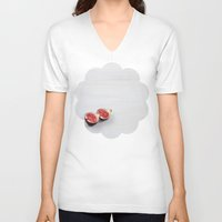 minimalist V-neck T-shirts featuring Minimalist by Leonor Saavedra