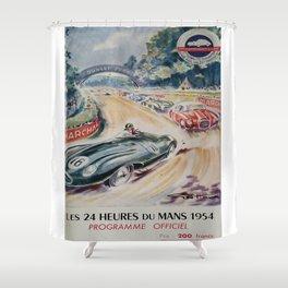 1954 Le Mans poster, Race poster, car poster, programme officiel Shower Curtain