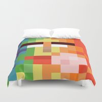 nintendo Duvet Covers featuring Bit Moth Super Nintendo by Marc Beaudette