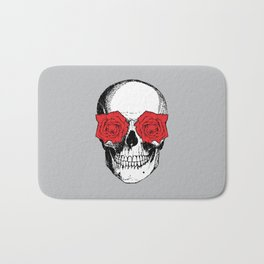 Skull and Roses | Grey and Red Bath Mat