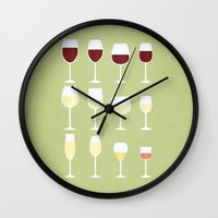 wine Wall Clocks featuring Wine by Sara Showalter