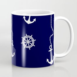 Nautical Navy Pattern with Anchors and Steering Wheels Coffee Mug