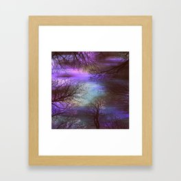 midnight trees purple green teal Framed Art Print