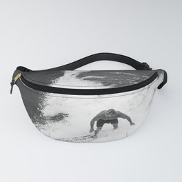 Black and White Wave Surfer Fanny Pack