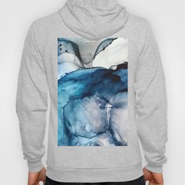 White Sand Blue Sea - Alcohol Ink Painting Hoody