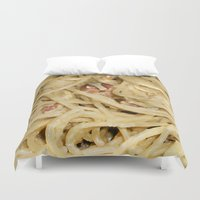 pasta Duvet Covers featuring Carbonara Pasta by Anand Brai