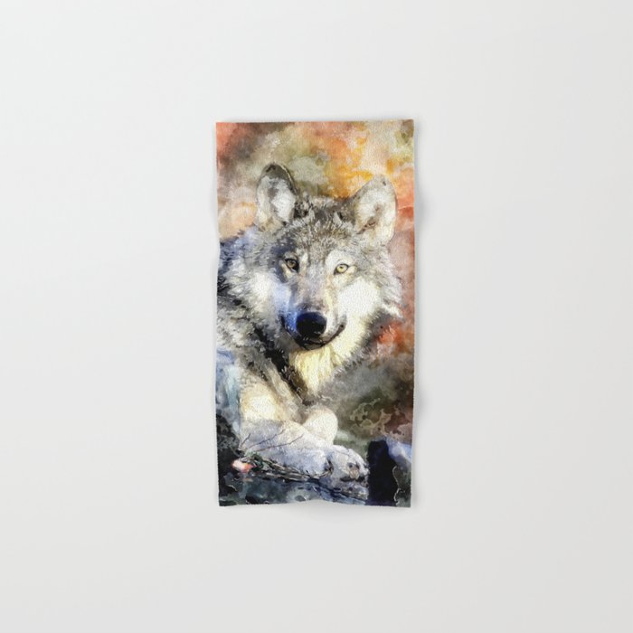 Wolf Animal Wild Nature-watercolor Illustration Hand & Bath Towel