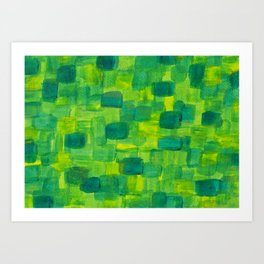 Green Squares Abstract Acrylic Painting Art Print
