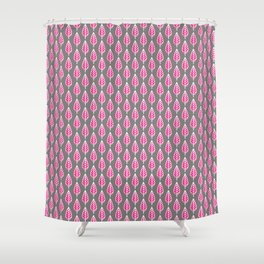 Beech Leaf Pattern, Fuchsia Pink and Silver Gray Shower Curtain