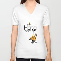 pixar V-neck T-shirts featuring Pixar/Disney Wall-e Hang in There by Teacuppiranha