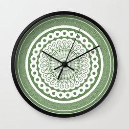 Green Circle Mandala Wall Clock