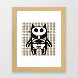 Meow Skeleton Framed Art Print