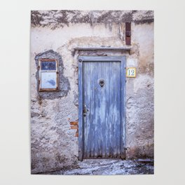 Old Blue Italian Door Poster