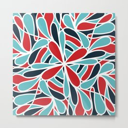 Modern Artsy Blue Red Abstract Geometric Pattern Metal Print