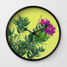 Pink Wild Flower Grows on Tropical Island Plant Wall Clock
