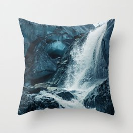 The Icy Blue Waterfall (Color) Throw Pillow