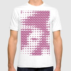 Pink Pebble Pattern Mens Fitted Tee MEDIUM White