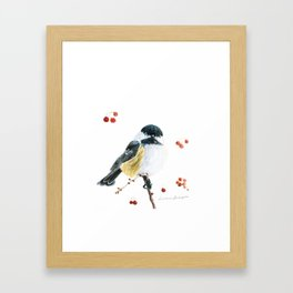 Christmas Chickadee by Teresa Thompson Framed Art Print