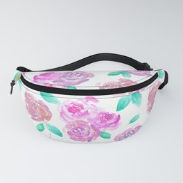 Purple and Pink Watercolor Roses Floral Pattern Fanny Pack