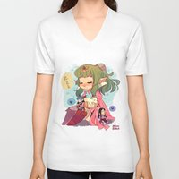 tiki V-neck T-shirts featuring FE-Tiki by Mimiblargh