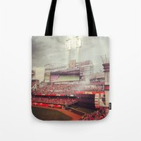 cincinnati Tote Bags featuring Cincinnati Reds by  Rikki