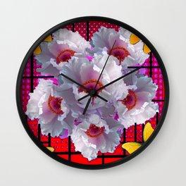 BUTTERFLIES MODERN WHITE TREE PEONY FLOWERS RED ART Wall Clock