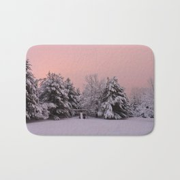 Pink Winter Sky (with swingset) Bath Mat