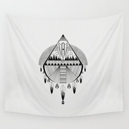 Geometrical black and white dreamcatcher Wall Tapestry