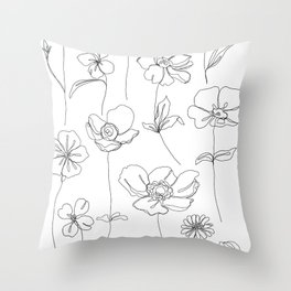 Botanical illustration drawing - Botanicals White Throw Pillow