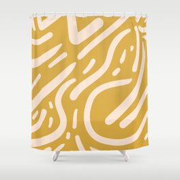 Earthy Mustard Yellow and Light Peach tribal inspired modern pattern Shower Curtain