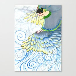 Blue Angel Apsara - impressionist mixed media drawing, blue and yellow, feathers, angel wings Canvas Print