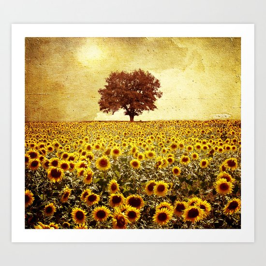 lone tree & sunflowers field Art Print