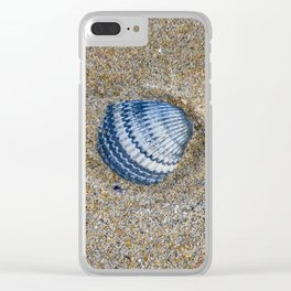INDIGO COCKLE SHELL ON SAND Clear iPhone Case