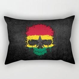 Flag of Ghana on a Chaotic Splatter Skull Rectangular Pillow