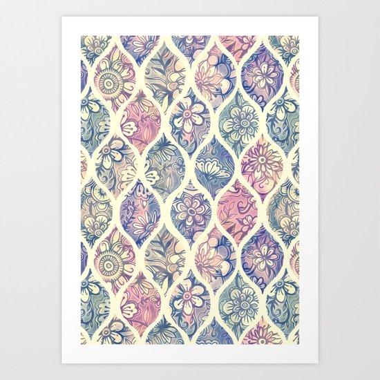 Patterned & Painted Floral Ogee in Vintage Tones Art Print