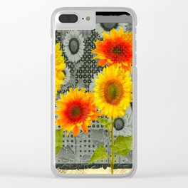 GREY GRUBBY SHABBY CHIC STYLE SUNFLOWERS ART Clear iPhone Case