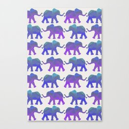Follow The Leader - Painted Elephants in Royal Blue, Purple, & Mint Canvas Print