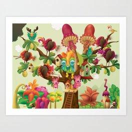 Mushroom Tree & Shell Bird Art Print