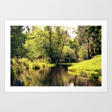 a tree by the river Art Print