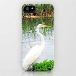 The Great White Egret:) (pointillism) | Large White Bird | Nature Photography iPhone Case