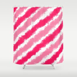 Hot Pink Soft Pink Diagonal Stripes Shower Curtain