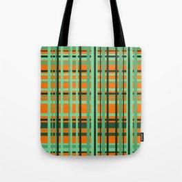 Orange - green checkered Design Tote Bag